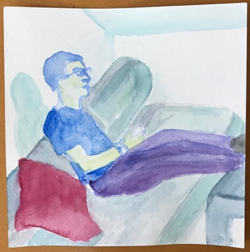 Watercolor of Chris playing The Witcher a year ago